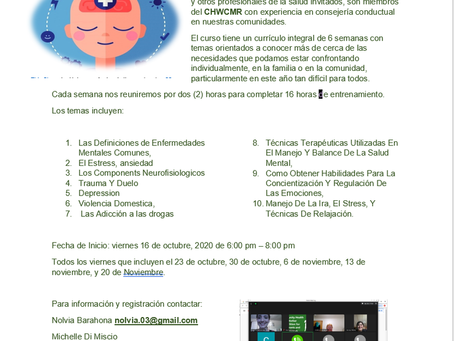 An invitation for our free course in Spanish about Behavioral Health for Community Health Worker.