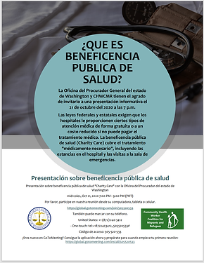 We hope you can join our conference with our Attorney General about free or low cost Health Programs