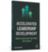 a photoshopped graphic of teh  'Accelerated Leadership Development' book, by Ines Wichert, standin with the front cover facing.