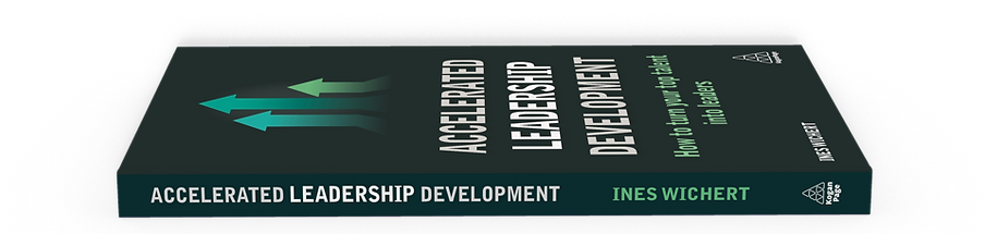 A photoshopped graphic of 'Accelerated Leadership Development' book by Ines Wichert laying flat with book cover facing up