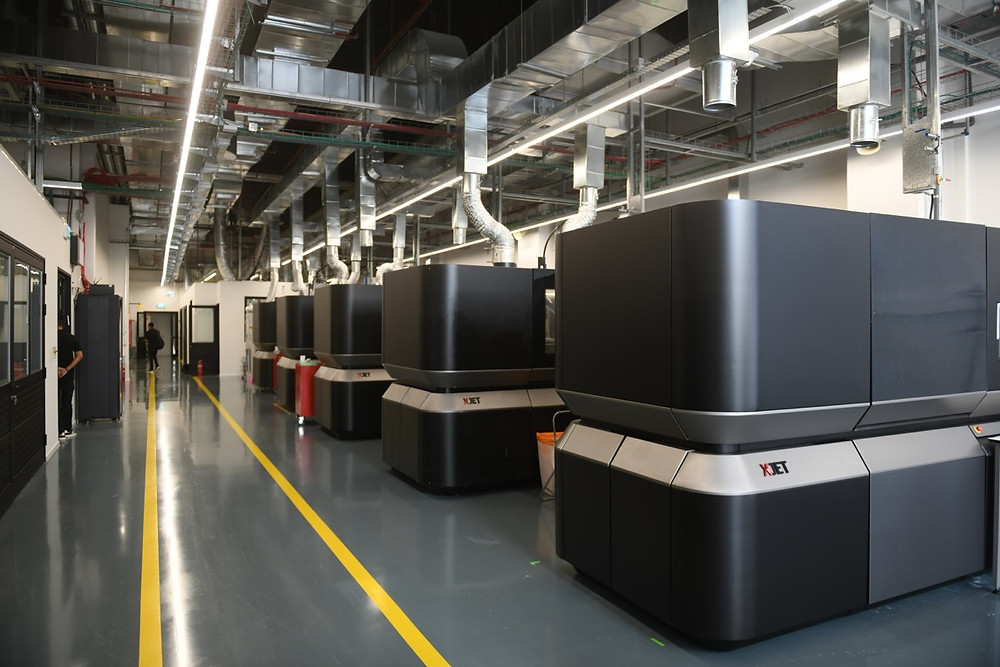 XJET Carmel AM systems lines the floors of the Additive Manufacturing Center in Rehovot.