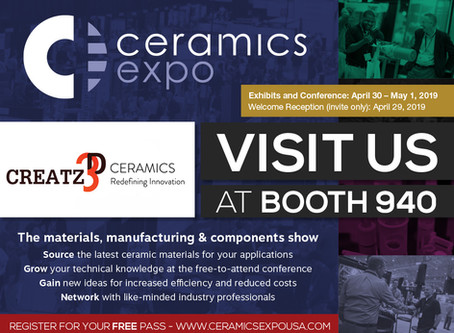 Visit us at Ceramics Expo 2019