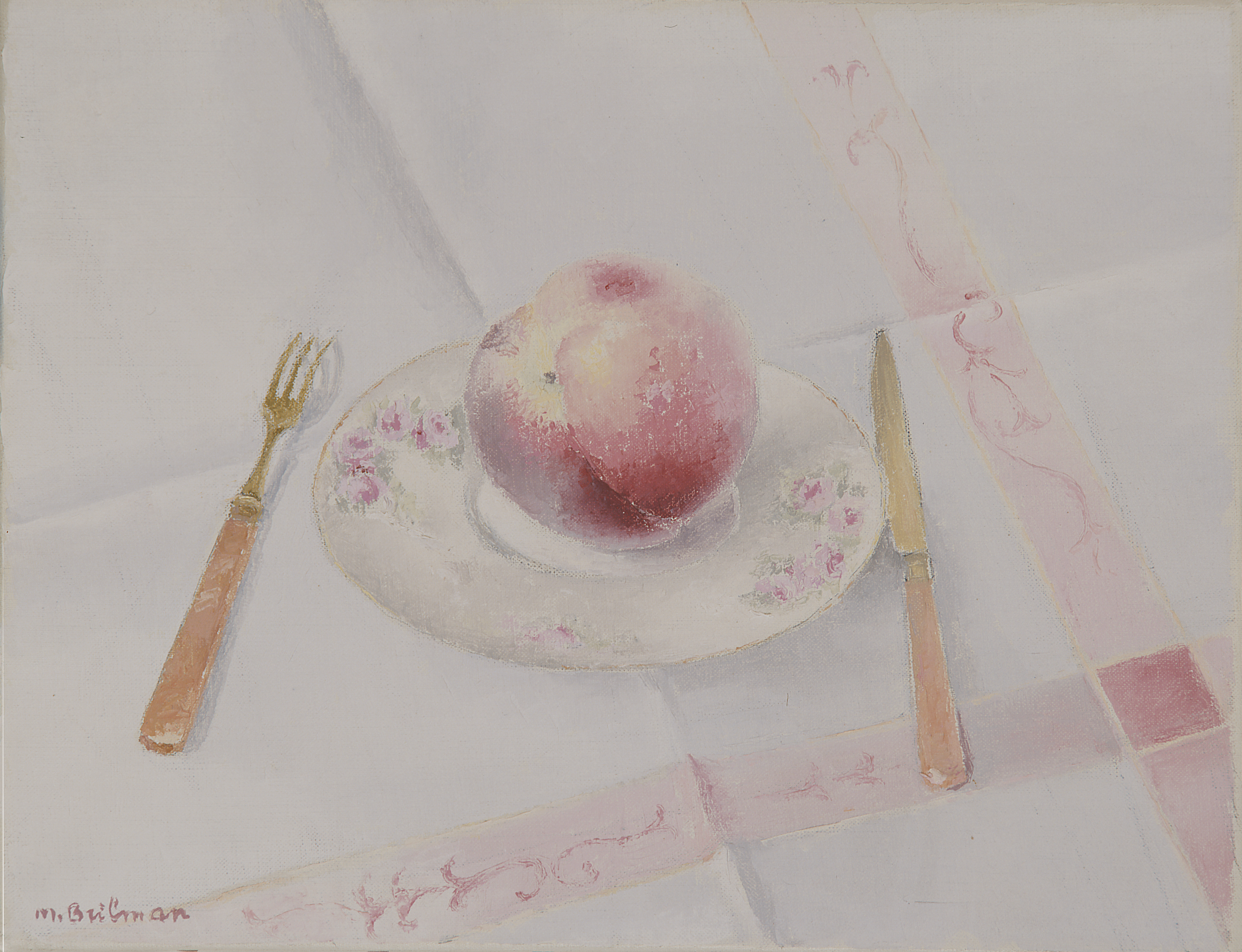 Peach and cutlery