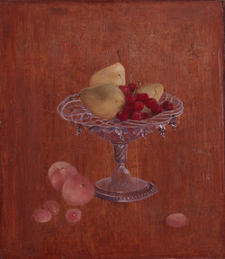 Cup with pears and cherries