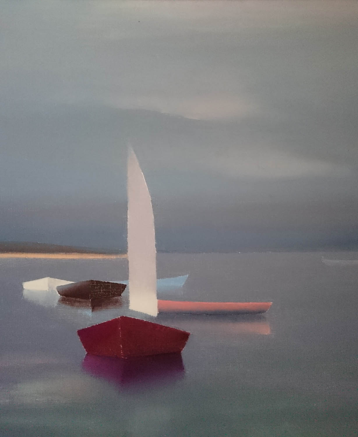 Boat in Audierne, stormy light