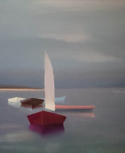 Barque à Audierne, lumière d'orage