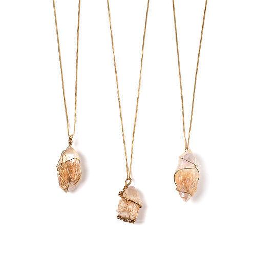 Quartz Necklaces - Long & Golden