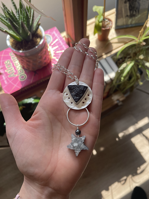 Raw Faced Black Tourmaline and Druzy Star Necklace
