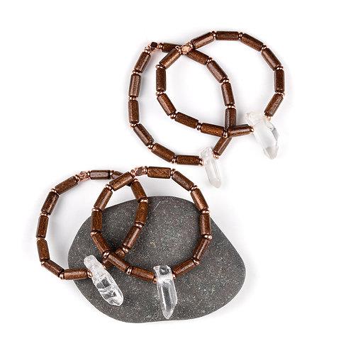 Quartz, Wood, and Copper Bracelet