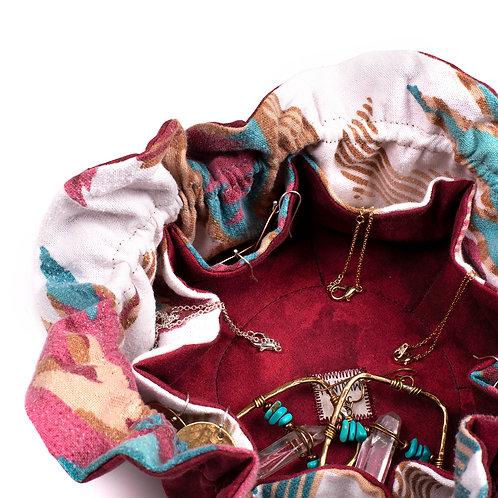 Upcycled Jewelry Travel Bag- Sandia
