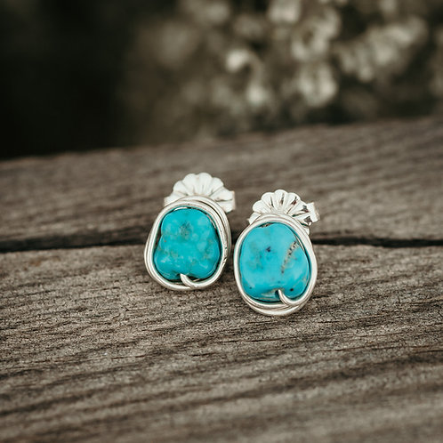 Turquoise Wire Wrapped Stud Earrings