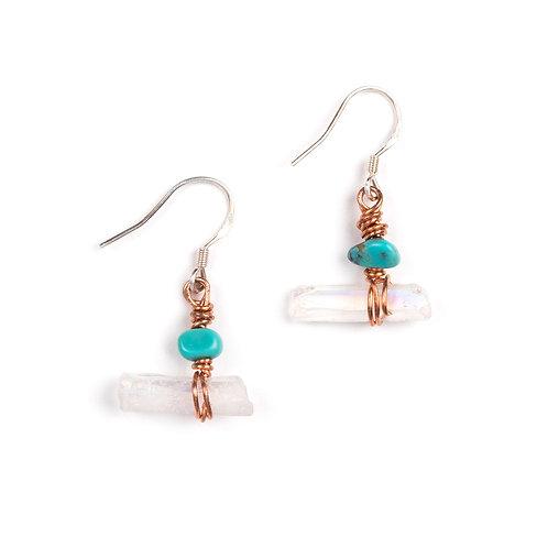 Horizontal Single White Quartz with Turquoise Earrings
