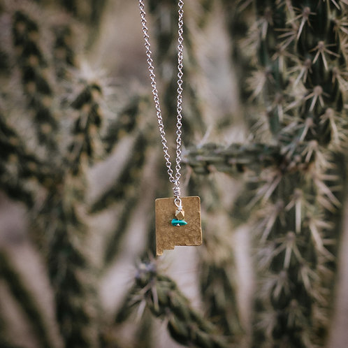 Long Brass New Mexico Necklace w/Turquoise