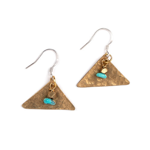 Turquoise & Brass Triangle Earrings