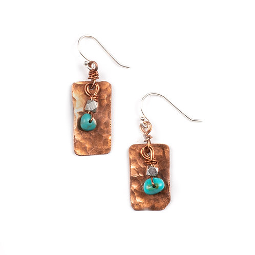 Turquoise & Copper Rectangle Earrings