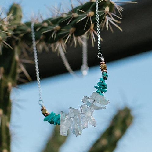 Quartz & Turquoise Fan Necklace (2 Variations)