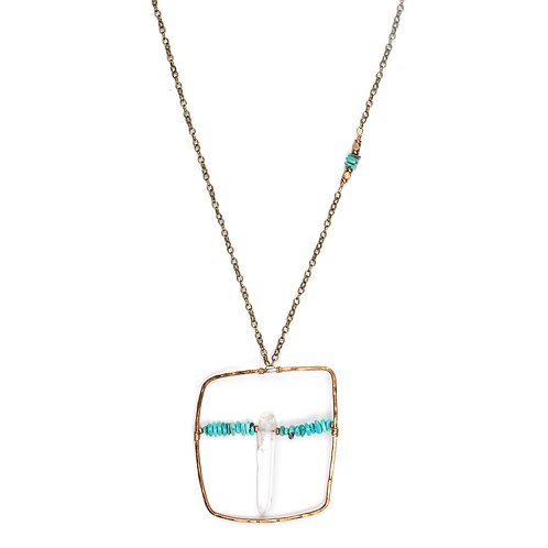 Long Quartz & Turquoise Statement Necklace w/ side accent