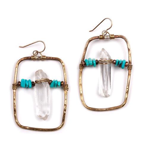 Quartz & Turquoise Statement Earrings