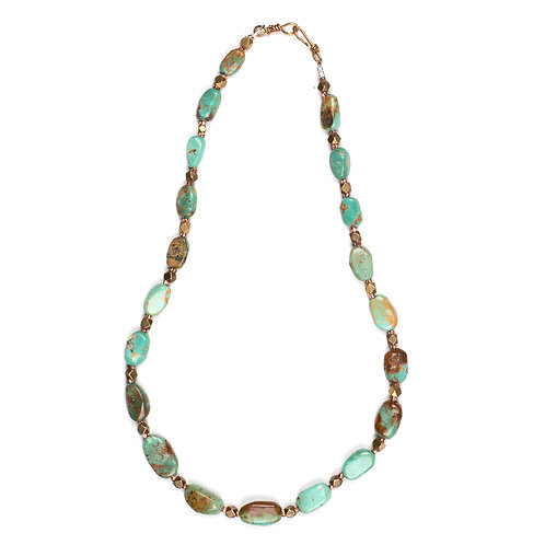 Turquoise, Brass, and Copper Necklace