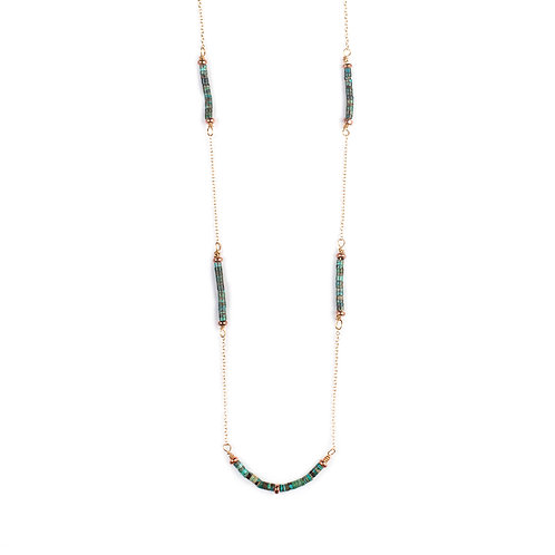 Golden Turquoise Heishi Necklace