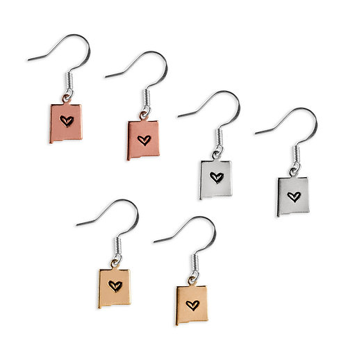 New Mexico Earrings with Heart - Petite