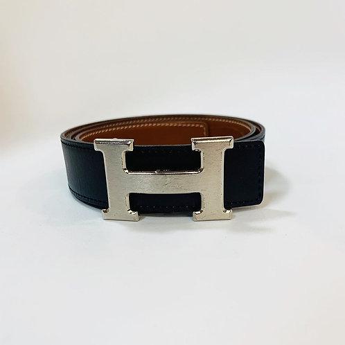 Cinto Hermès Preto/Caramelo