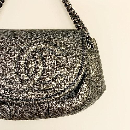 Bolsa Chanel Couro Metalizado 35 x 17cm