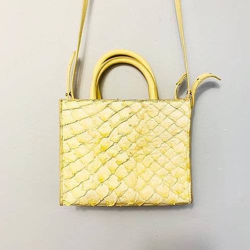 Bolsa Couro Pirarucu Amarela