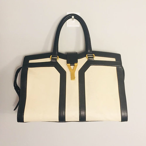 Bolsa Yves Saint Laurent Off White com Preto