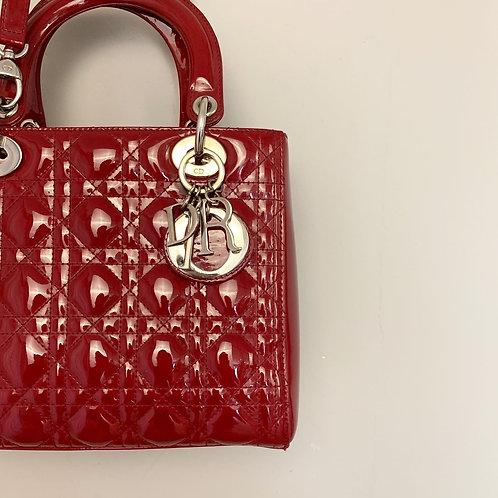 Bolsa Lady Dior Verniz Vermelho
