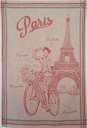 Teatowel - Cycling in Paris (Red)
