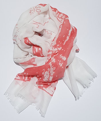 Scarf - White & Coral