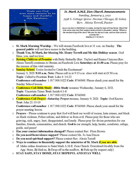 St. Mark Jan 3 2021 church announcements