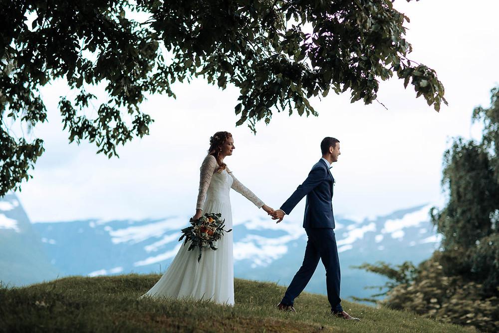 sunsetwalk in norwegian landscape, wedding photo