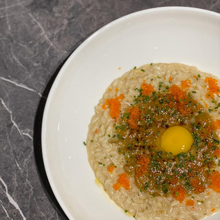 korayaki , risotto , crabmeat