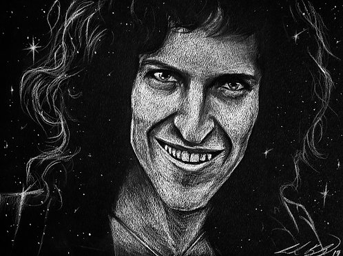Brian May Charcoal Drawing