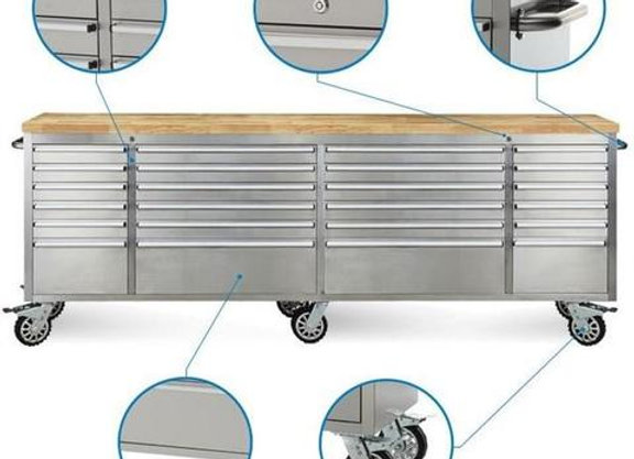 "96"" 24 Drawer Stainless Steel Rolling Metal Tool Chest"