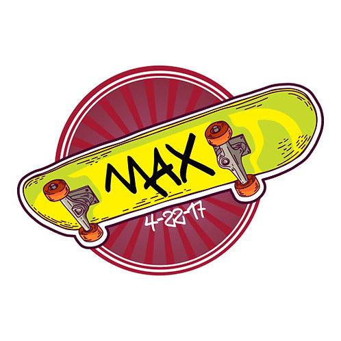 Bar Mitzvah/Party Personalized Custom Logo - Skateboard Theme