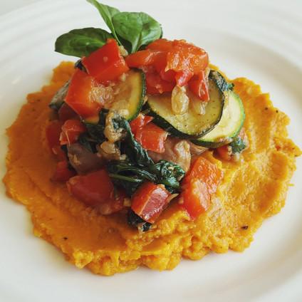 Sweet Potato Mash & Vegetable Medley