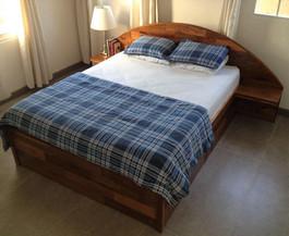 Walnut brick effect bed