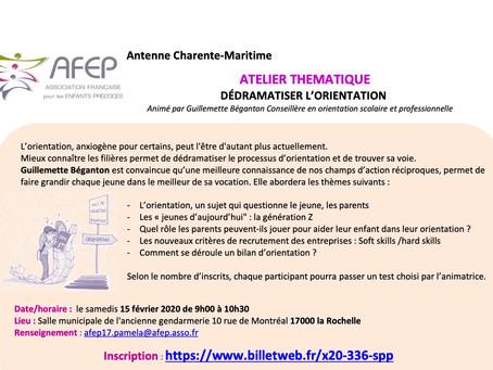 Atelier avec l'AFEP, Association Française pour les Enfants Précoces, le 15 février à La Rochelle.