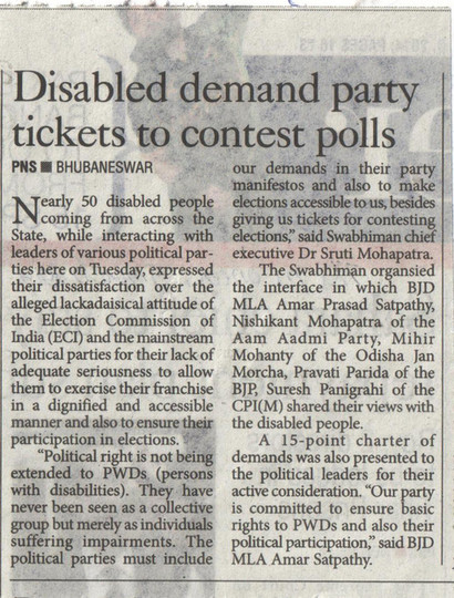 Disabled demand party tickets to contest polls.