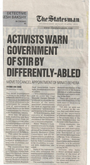 Advocacy - Appointing right candidate as disability commissioner.