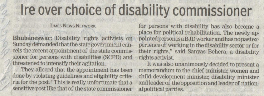Advocacy - Appointing right candidate as disability commissioner