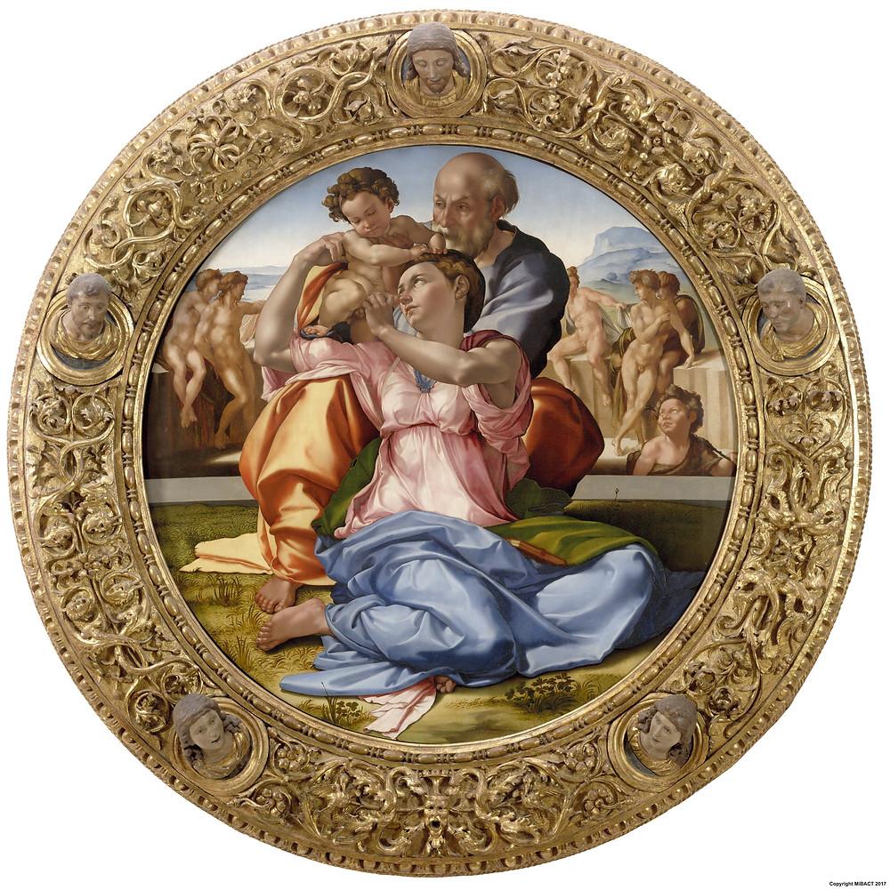 Tondo Doni, a única pintura de Michelangelo em suporte móvel, uma joia da Galleria degli Uffizi em Florença.
