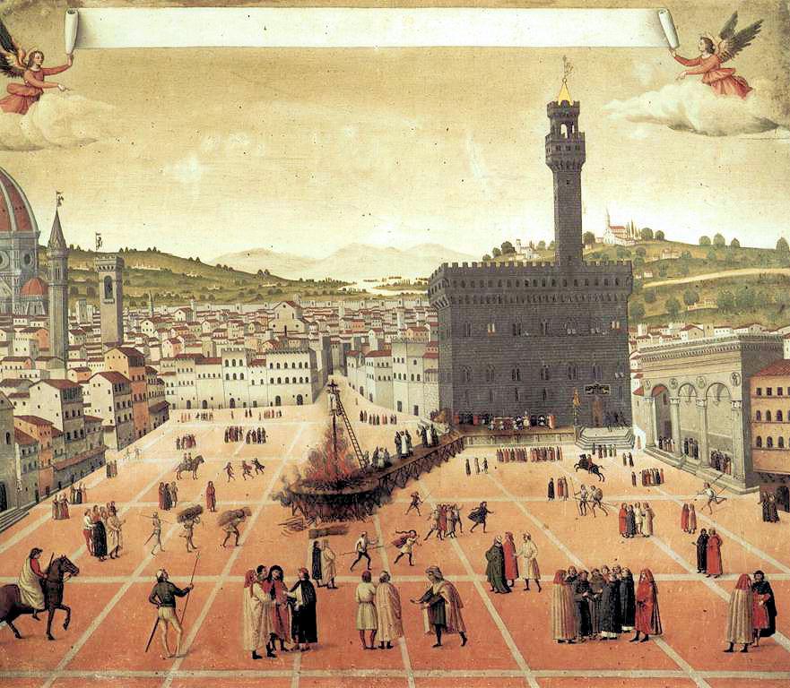 Pintura de autor desconhecido que mostra a execução de Savonarola em frente ao Palazzo Vecchio. O original encontra-se no Museu de San Marco.