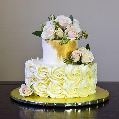 """Gold Rosette """"Elopement Cake"""""""