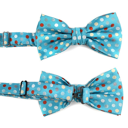 Blue Polka Dot Banded Bow Tie
