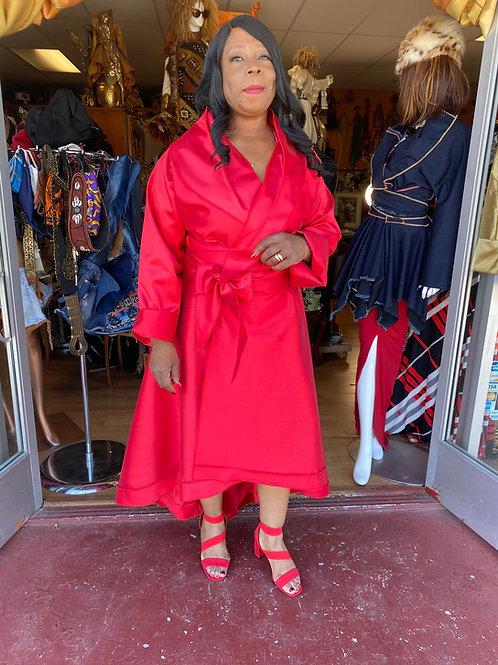 Red Dupioni Silk Wrap Dress Hi Lo