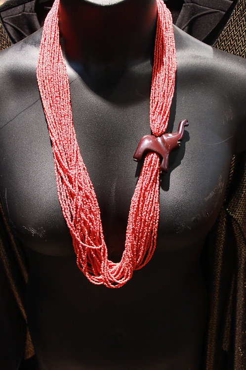 Red Beaded Elephant Necklace